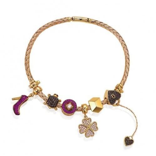 Золотой браслет по типу пандоры (Флорентино - Collection Florentino) БСПандора(к)