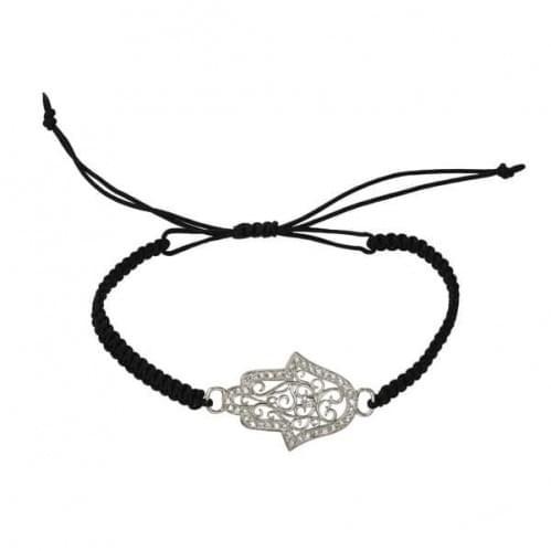 Браслет серебряный, черное плетение нитка