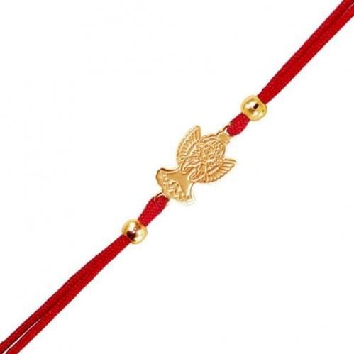 Браслет с красной нитью золотой (ангел)