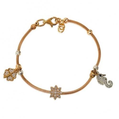 Золотой браслет цветок+морской конек (Флорентино - Collection Florentino) БС330(2)к