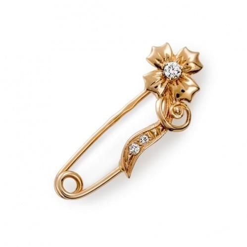 Золотая брошь с фианитом БШ048и