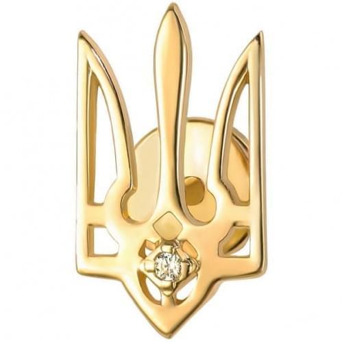 Золотая брошь с фианитом БШ077и