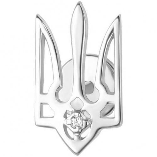 Серебряная брошь с фианитом БШ077с