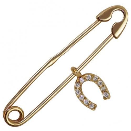 Золота брошка з фіанітом БШ081(4)и