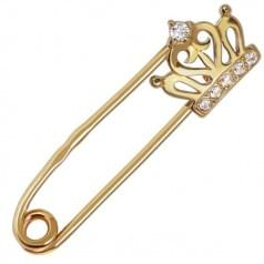 Золотая брошь с фианитом