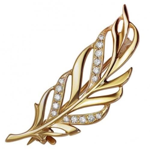Золота брошка з фіанітом БШ128и
