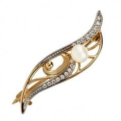 Золотая брошь с жемчугом и фианитом БШ250и