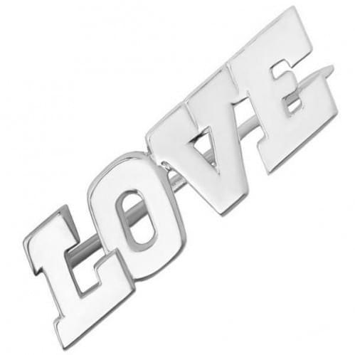 Серебряная брошь LOVE