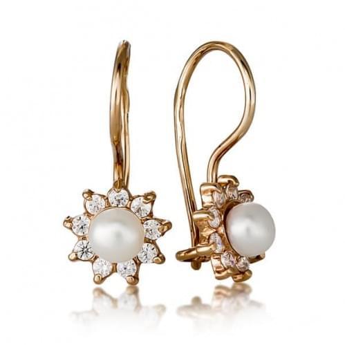 Золоті сережки з перлами ДС009и