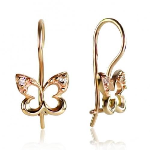 Золоті сережки з фіанітом ДС038и
