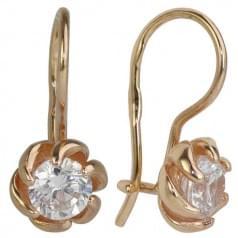 Золотые серьги с фианитом ДС041и