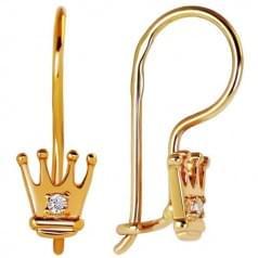 Золотые серьги с фианитом ДС043и