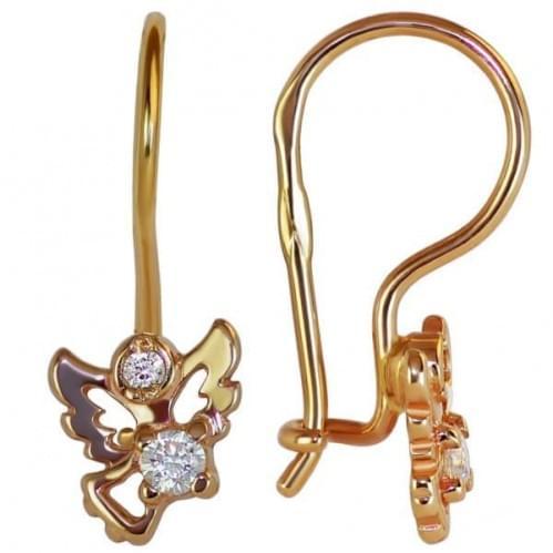Золоті сережки з фіанітом ДС047и