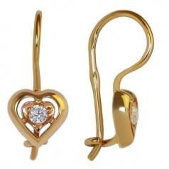 Золотые серьги с фианитом ДС048и