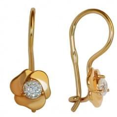 Золотые серьги с фианитом ДС282и