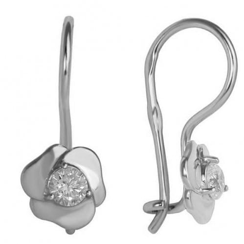 Серебряные серьги с фианитом ДС282с
