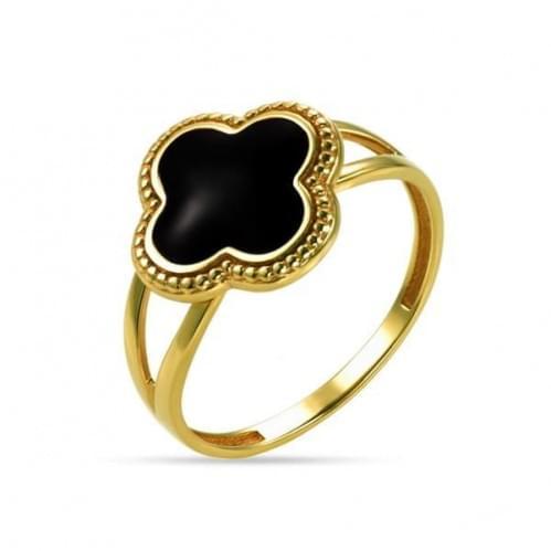 Кольцо из лимонного золота с эмалью КБ1206Ли