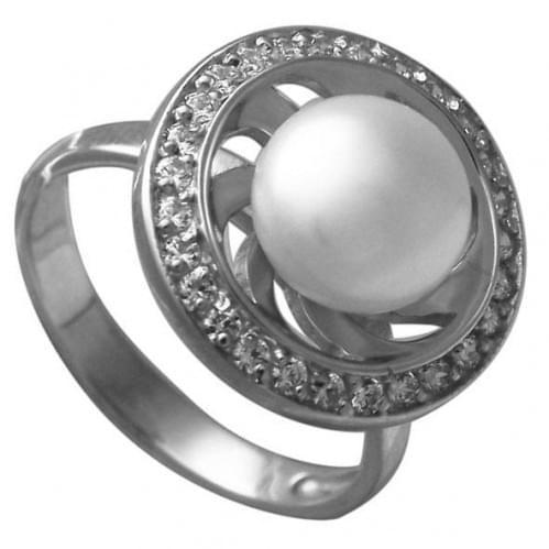 Серебряное кольцо с жемчугом КВ101(2)с