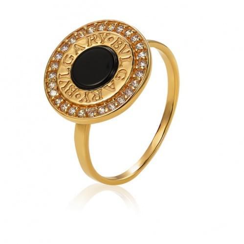 Золотое кольцо с ониксом КВ1051и
