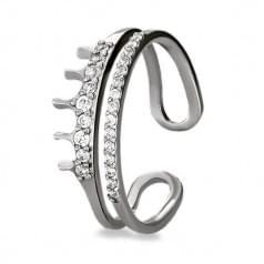 Серебряное кольцо Корона с фианитом