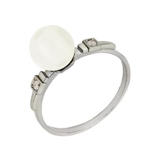 Серебряное кольцо с фианитами и жемчугом КВ1070с