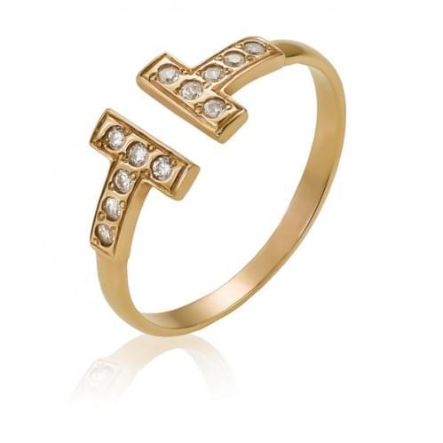 Золотое кольцо с фианитом КВ1078и