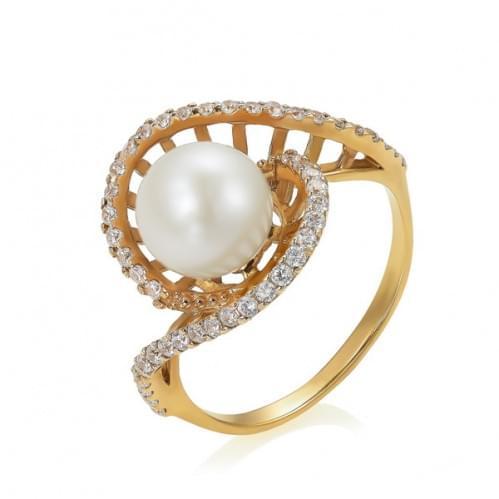 Золота каблучка з перлами КВ1088и