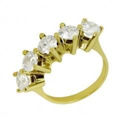Кольцо из лимонного золота с фианитом