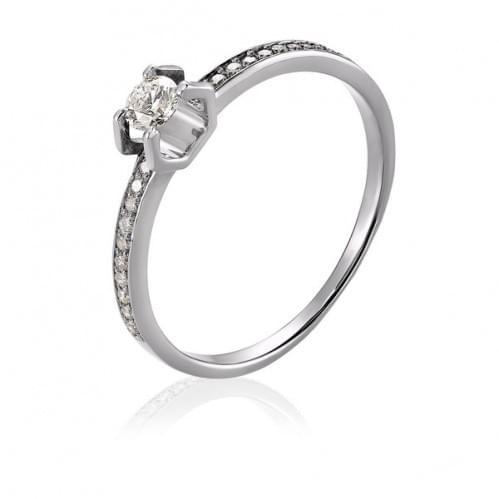 Каблучка з білого золота з діамантом КВ1104.00100Бн