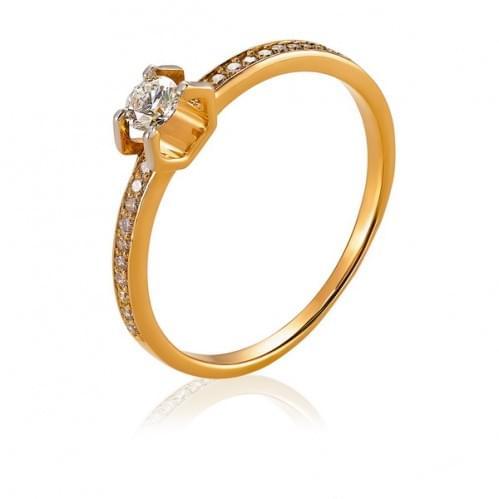 Золотое кольцо с бриллиантом КВ1104.00100н