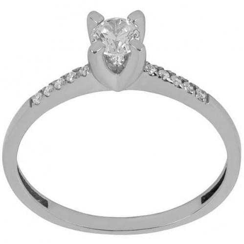 Кольцо серебряное с цирконием
