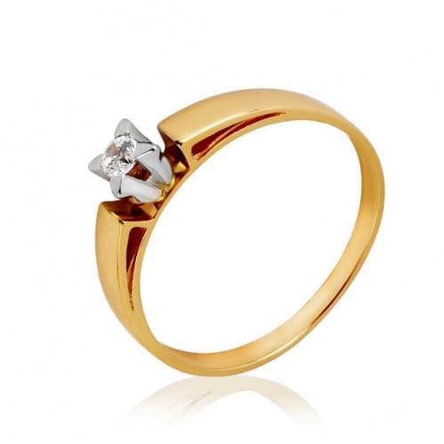 Золотое кольцо с фианитом КВ1107и