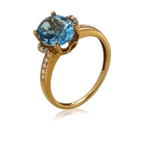 Золотое кольцо с топазом КВ1114.12101н