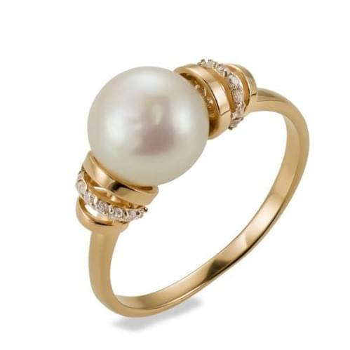 Золота каблучка з перлами КВ1117и
