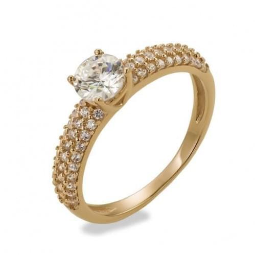 Золотое кольцо с фианитом КВ1121и