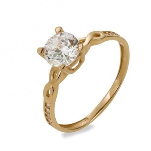 Золотое кольцо с фианитом КВ1122и
