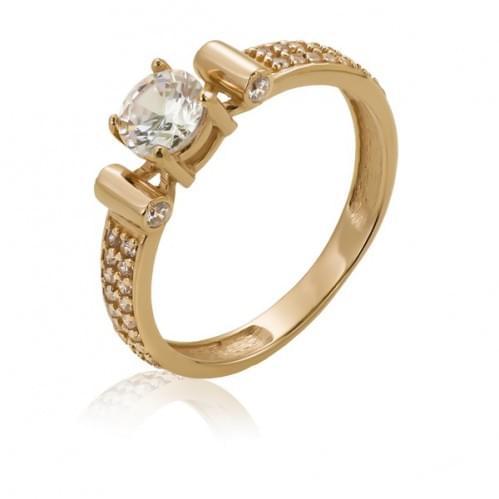 Золотое кольцо с фианитом КВ1129и