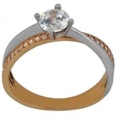 Кольцо золотое комбинированное