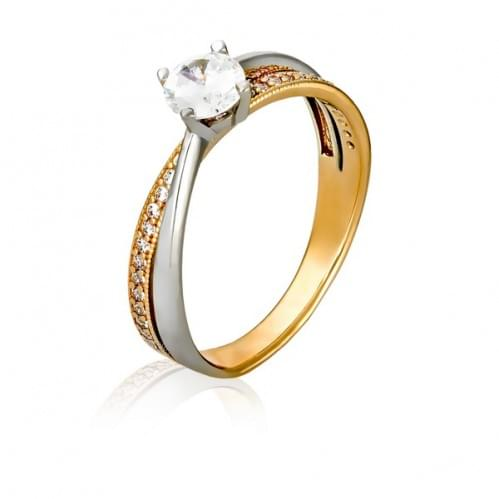 Золотое кольцо с фианитом КВ1133и
