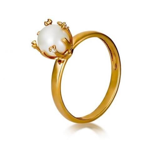 Кольцо золотое с фианитами и жемчугом КВ1141и