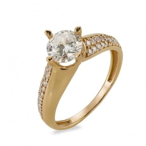 Золотое кольцо с фианитом КВ1147и