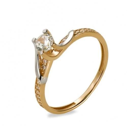 Золотое кольцо с фианитом КВ1154и