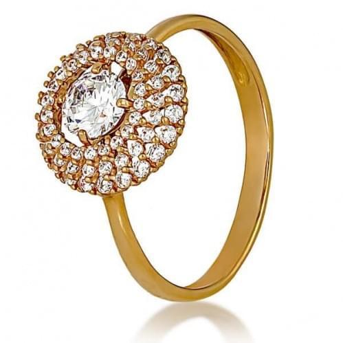 Золотое кольцо с фианитом КВ1160и