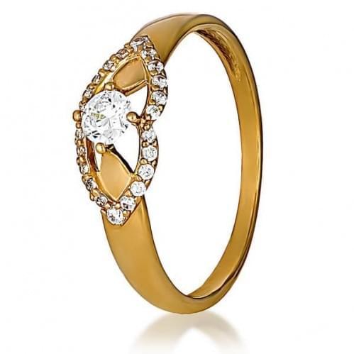 Золотое кольцо с фианитом КВ1163и