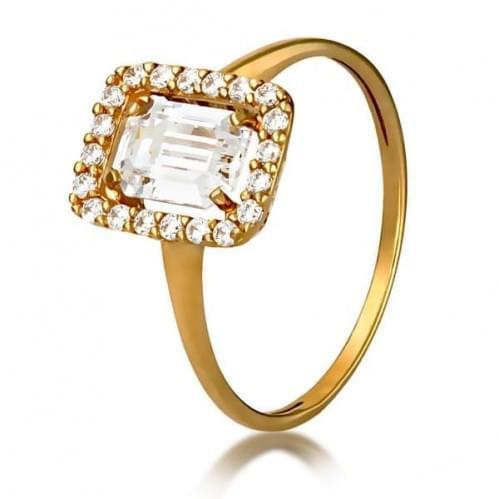 Золотое кольцо с фианитом КВ1164и
