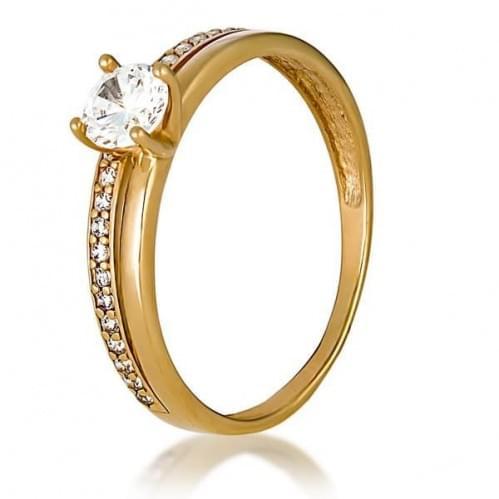 Золотое кольцо с фианитом КВ1166и