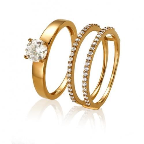 Золотое кольцо с фианитом КВ1174и