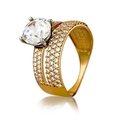 Золотое кольцо с фианитом КВ1177и