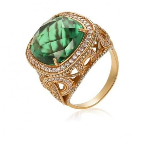 Золотое кольцо с кварцем green КВ1181.14207н