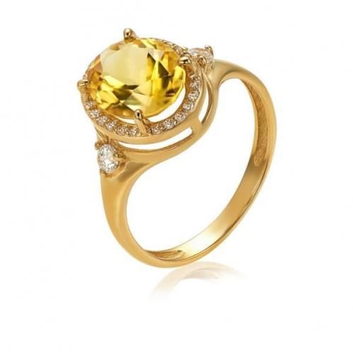 Золота каблучка з цитрином КВ1186.10408н